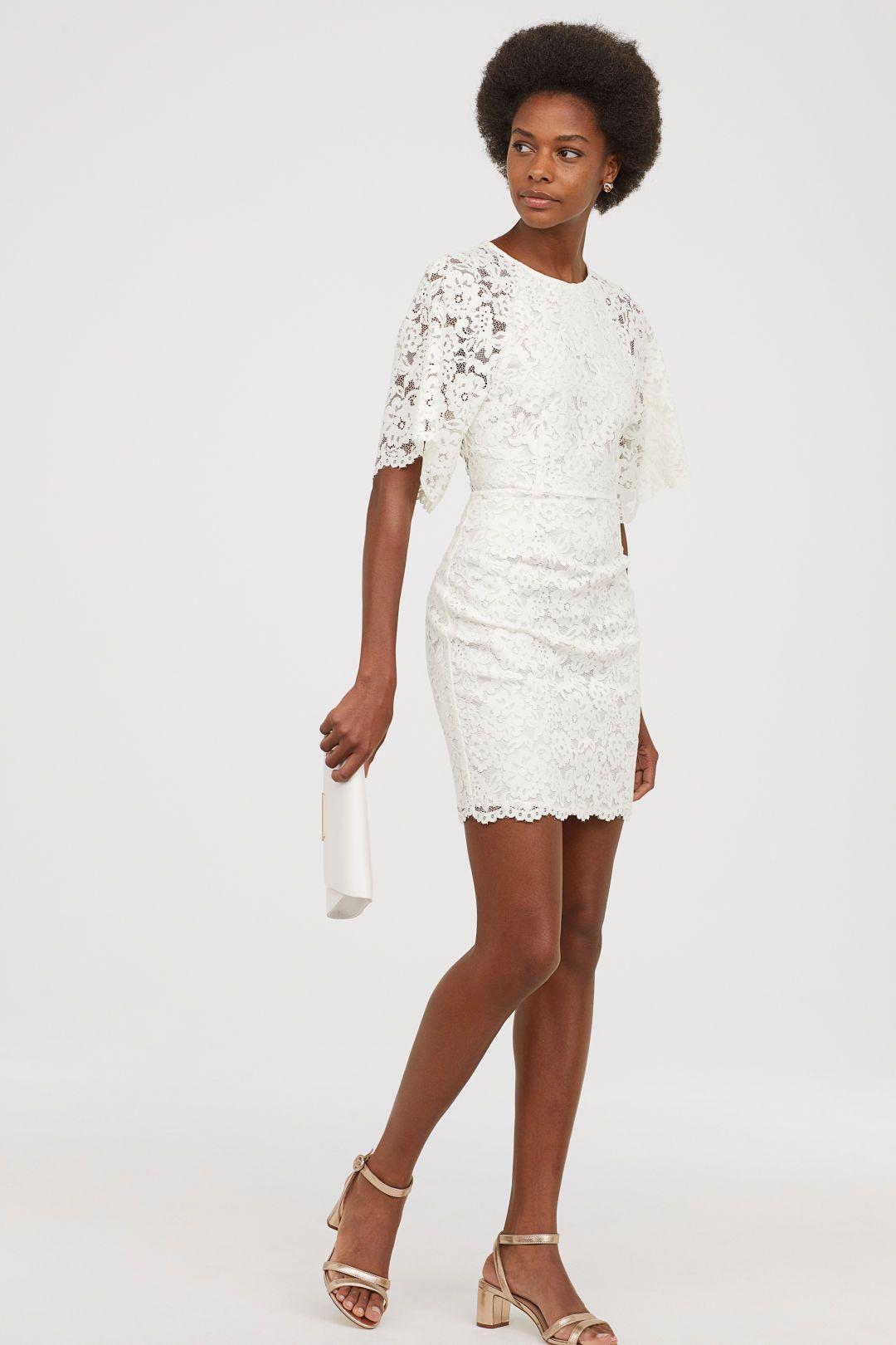 H M Short Lace Dress White Lace Short Wedding Dress Elopement Reception Bridal Shower Enga Short Lace Wedding Dress Short Lace Dress White Bridesmaid Dresses