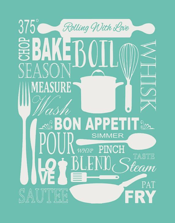 Exceptional Kitchen Art Print   Subway Typography Art With Utensils // Vintage Kitchen  Art // Tea Theme // Modern Kitchen Decor   Or