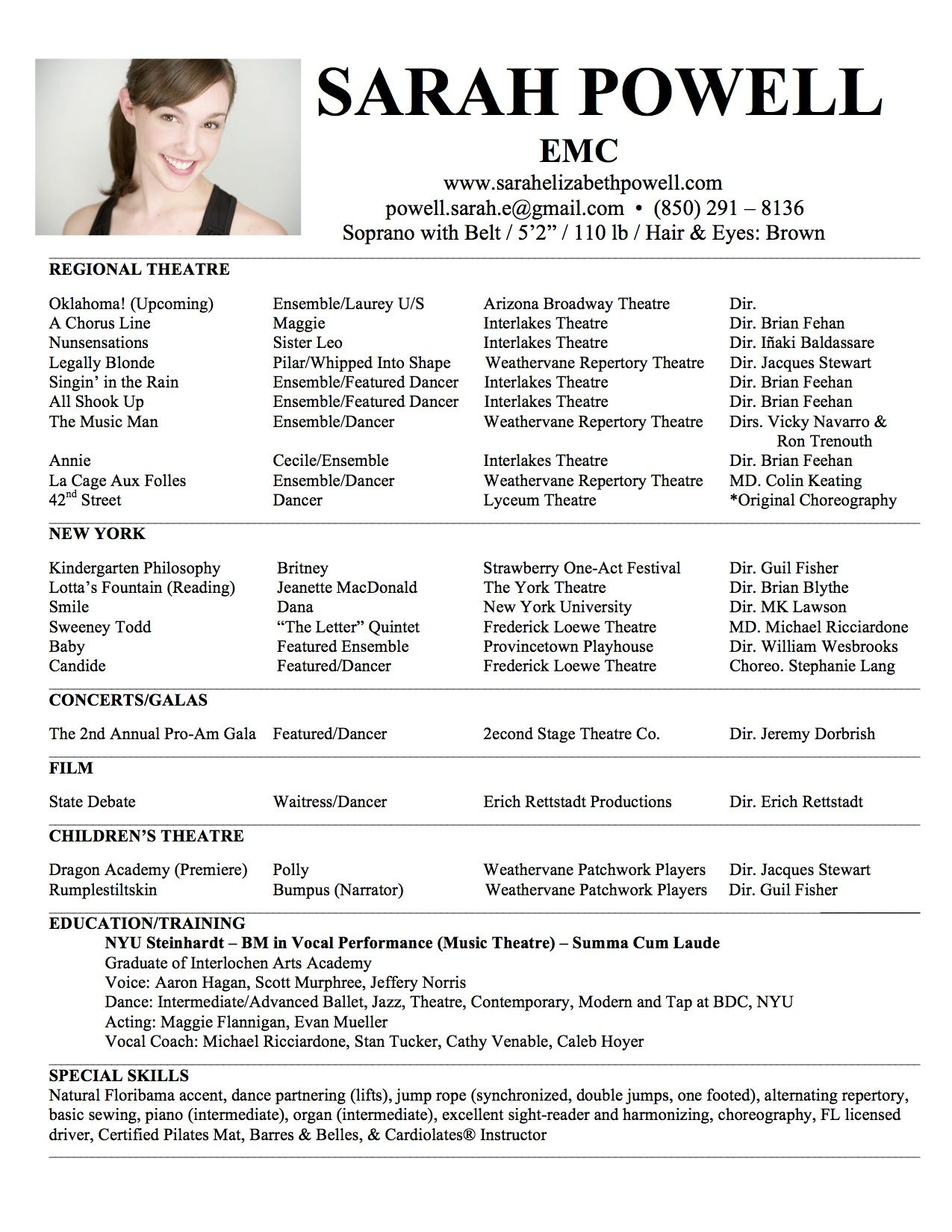 headshot resume sarah elizabeth powell sample theater musical technical theatre template - Sample Musical Theatre Resume
