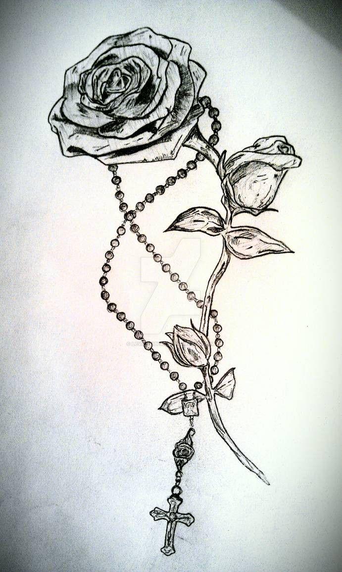 Rose and Rosary Tattoo by LeviLambert on DeviantArt