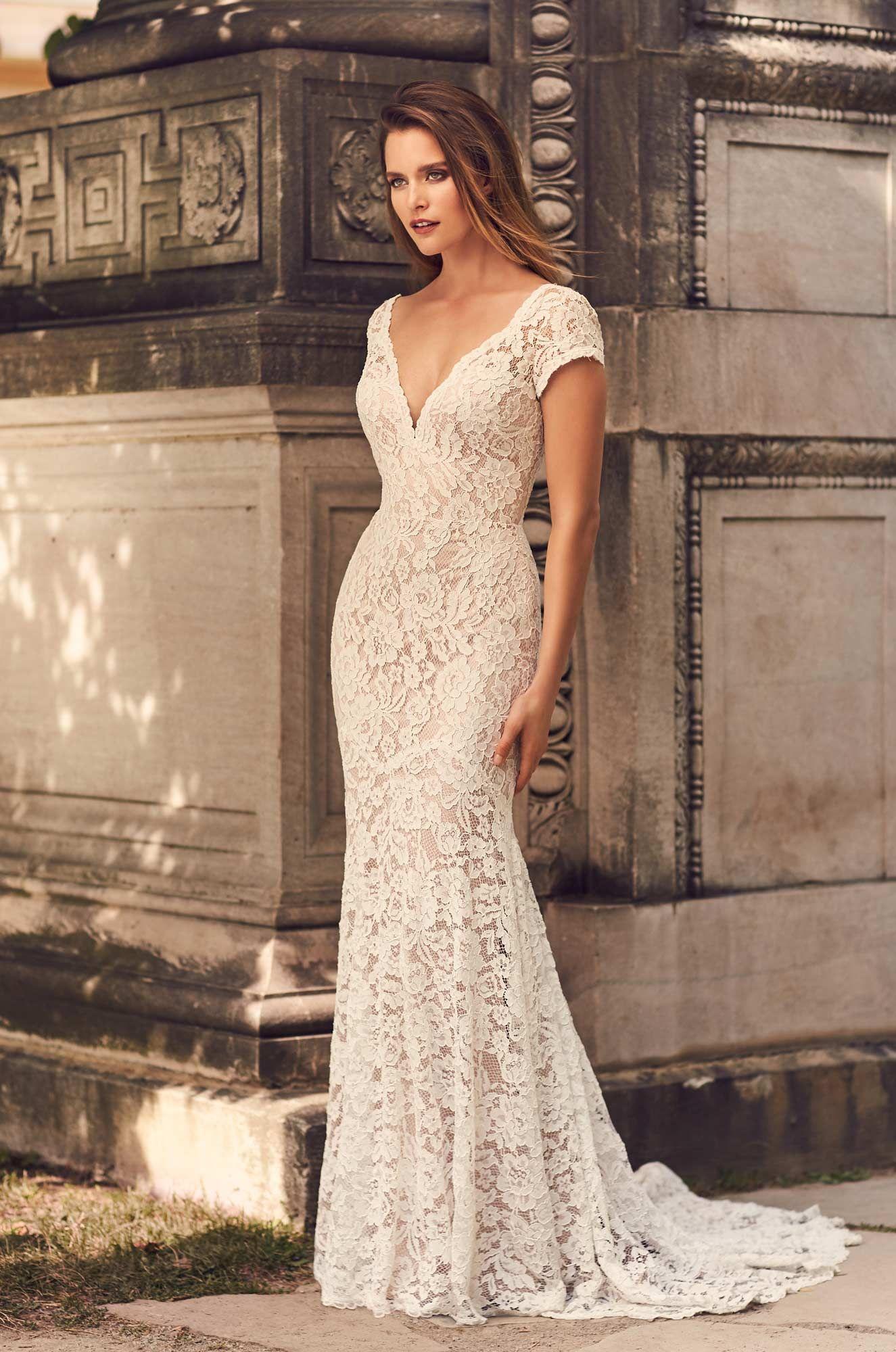Short Sleeve V Neckline Wedding Dress Style 2233 Mikaella Bridal Short Lace Wedding Dress Wedding Dress Necklines Short Sleeve Wedding Dress [ 2000 x 1325 Pixel ]