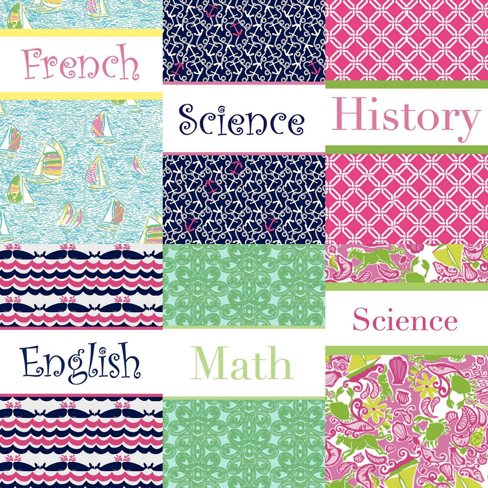 Preppy Binder Covers, Binder