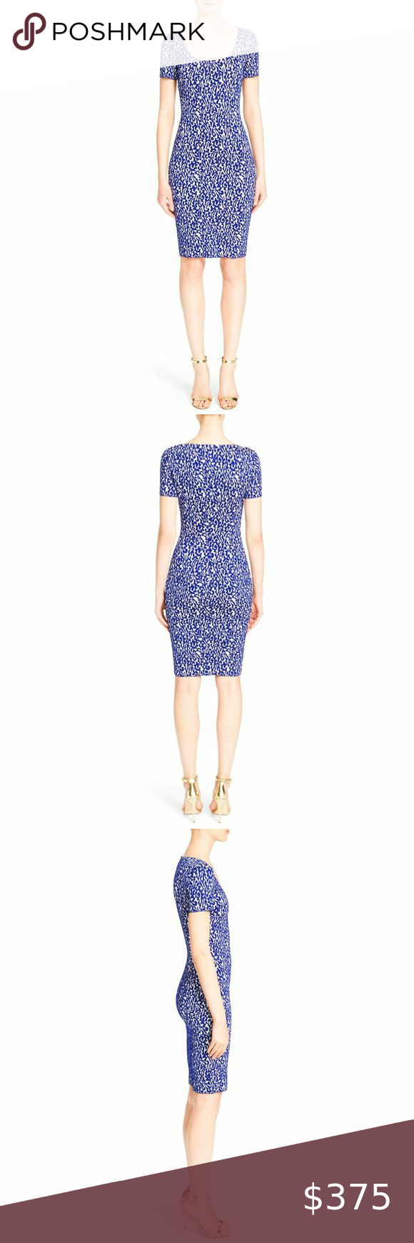 St John Blue White Jacquard Stretch Knit Dress 4 Stretch Knit Dress Knit Sheath Dress Midi Short Sleeve Dress [ 1740 x 580 Pixel ]