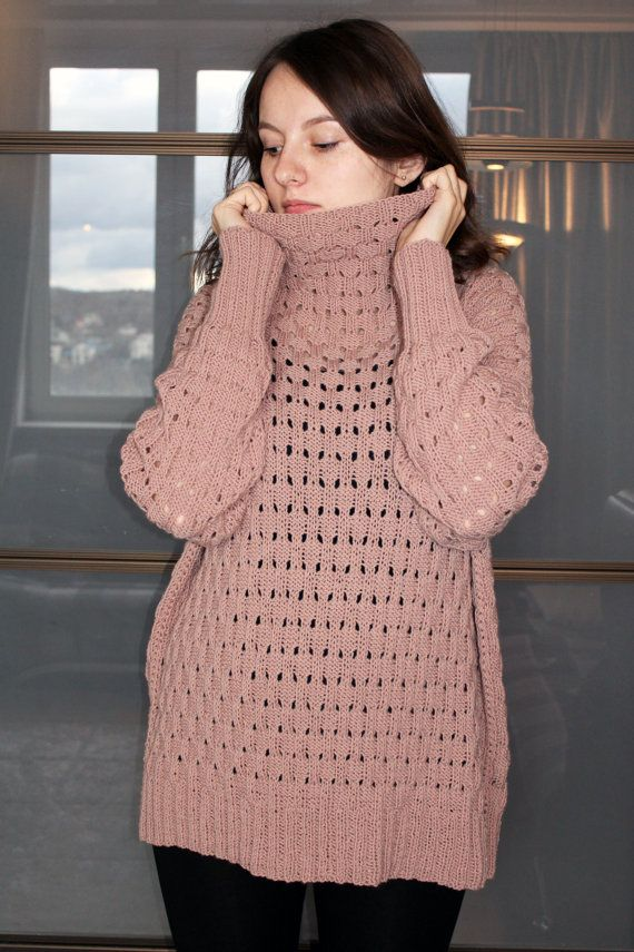 Oversized turtleneck sweater hand knitted long sweater loose knit ... e19a566fa