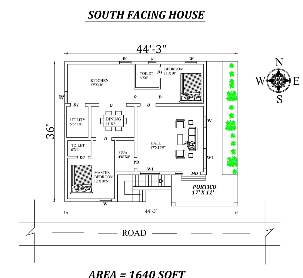 44 X36 2bhk Awesome South Facing House Plan As Per Vastu Shastra Autocad Dwg And Pdf File Details South Facing House House Plans House Layout Plans