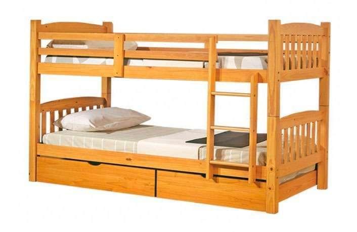 Litera de madera convertible en dos camas color miel - Cama convertible en litera ...