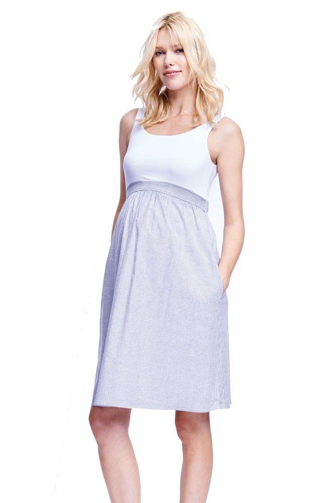 e987487df72 Gianna Empire Seersucker Maternity Dress (White Black Seersucker ...