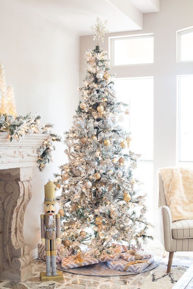 Elegant Gold And Silver Christmas Family Room Reveal Frosted Christmas Tree White Christmas Tree Decorations Traditional Christmas Tree