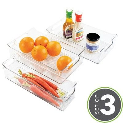 mDesign Plastic Food Storage Bins for Kitchen, Pantry, Cabinet, Set of 3 - Clear #largepantryideas