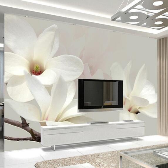 Schicken Mehr Tapeten Information über Benutzerdefinierte Foto Mural Tapete  Moderne Mode Lilie Blume 3D Weiße Magnolie