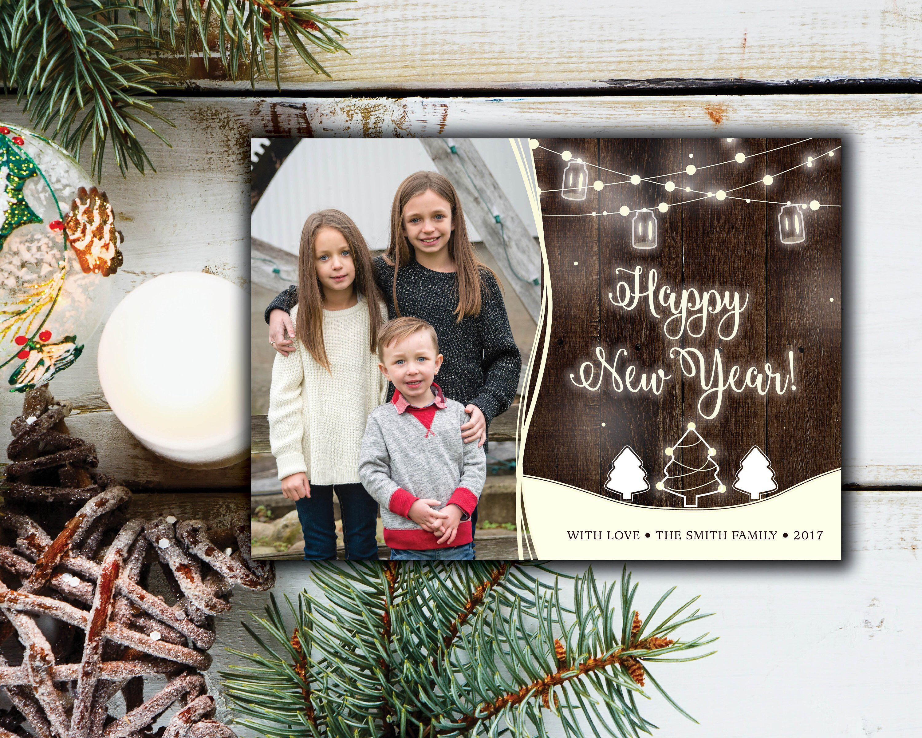 Rustic New Years Card With Photos Happy New Year Card Etsy Christmas Photo Cards Christmas Card Template Christmas Cards Etsy