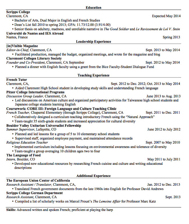 Pin By Latifah On Example Resume Cv    French Teacher