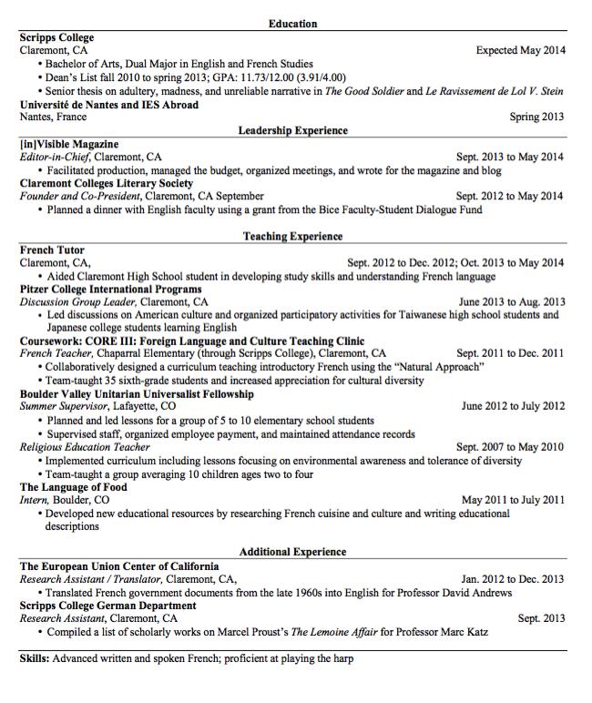 Sample French Teacher Resume Examples Resume Cv Teacher Resume Teacher Resume Examples Resume Examples