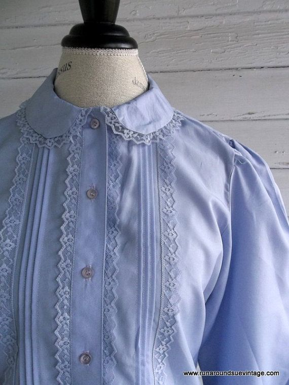 Vintage Blouse  Lavender and LACE Country by runaroundsuevintage, $20.00