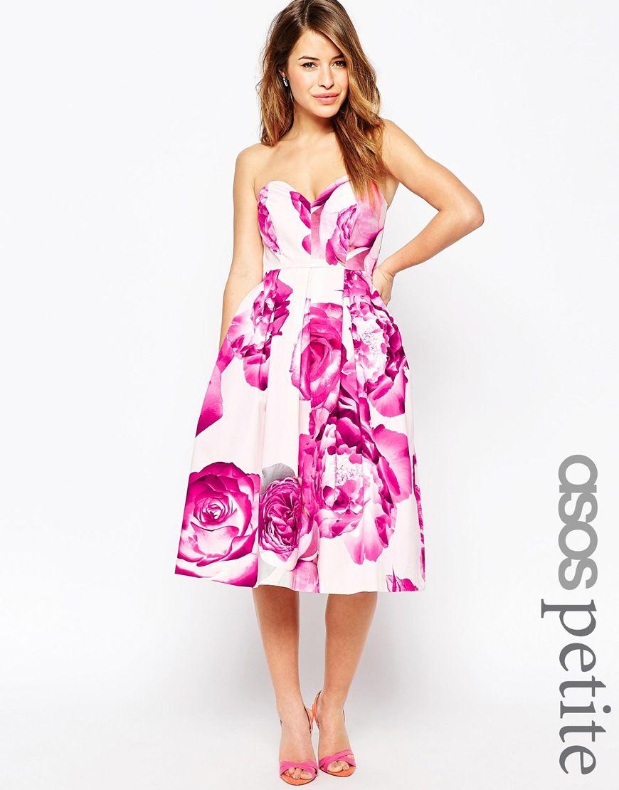 Image 1 of ASOS PETITE Bright Pink Floral Bandeau Midi Prom Dress ...