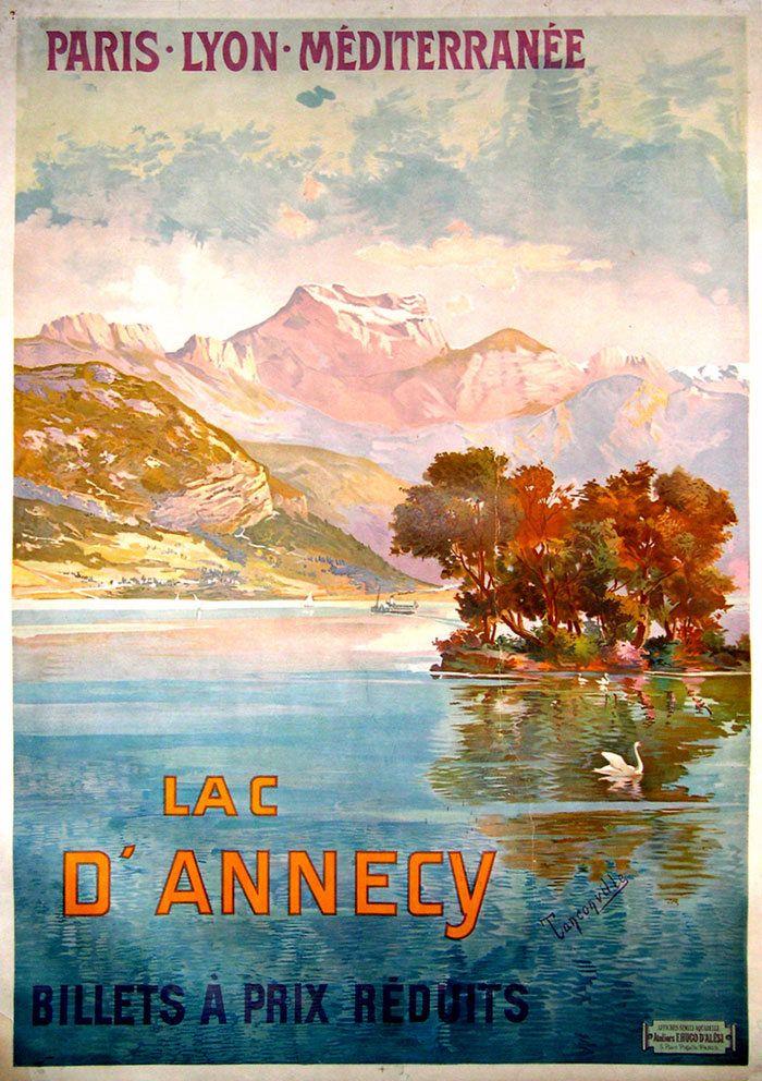annecy kart Vintage Railway Travel Poster   Lac d'Annecy. | Art kart  afiş  annecy kart