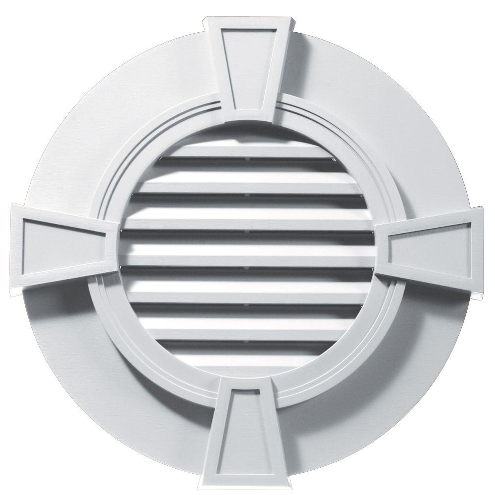 Builders Edge 30 In Round Gable Vent With Keystones In White Gable Vents Fiberglass Screen Wood Grain Texture
