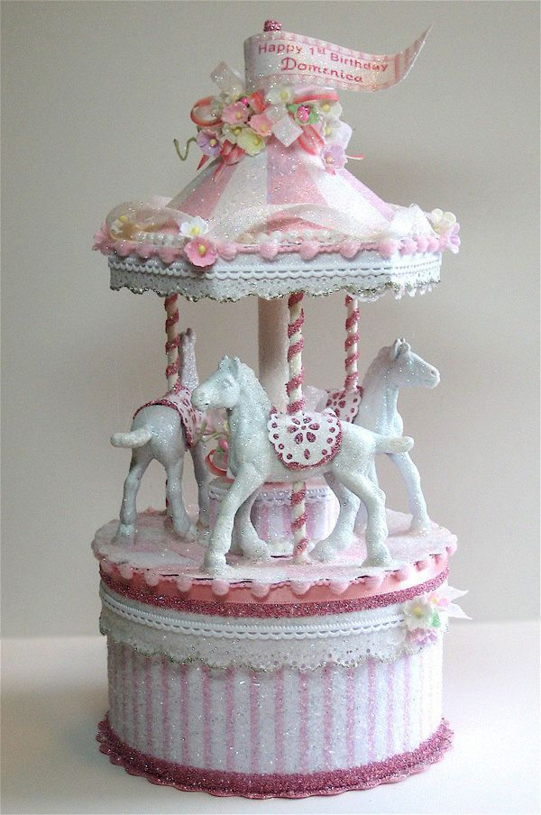 Pretty in Pink Carousel Cake Topper, Keepsake Box in 2019 | merry-go ...
