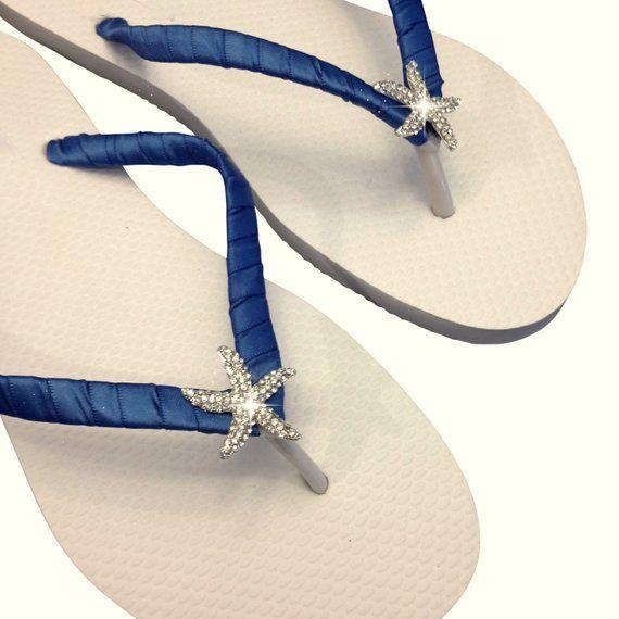 1a2abaeca0d Navy Blue Flip Flops - Bridesmaid Flip Flops - Starfish Flip Flops - Navy  Blue Wedding - Beach Weddi