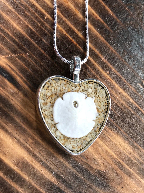 Hawaii Sand Heart and Sand Dollar Necklace Beach Theme