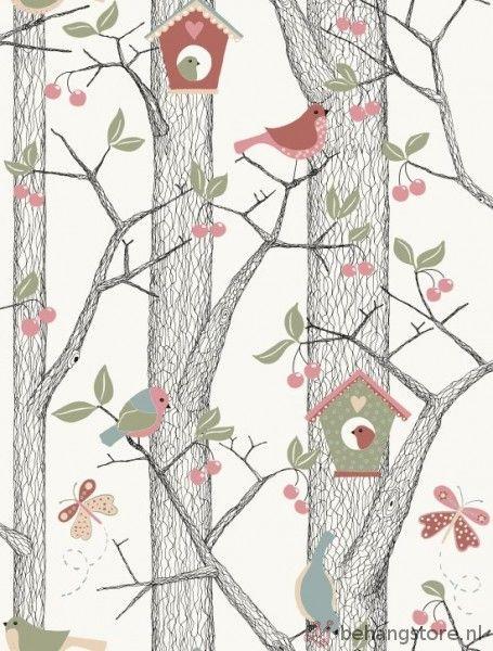 Voca Lilleby Kids vogelhuis+vogels roze groen - Lilleby Kids behang - Voca behang - Behang KIDS en Baby - Behangstore