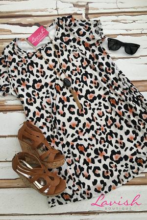 Chasing Dreams Shift Dress: Leopard
