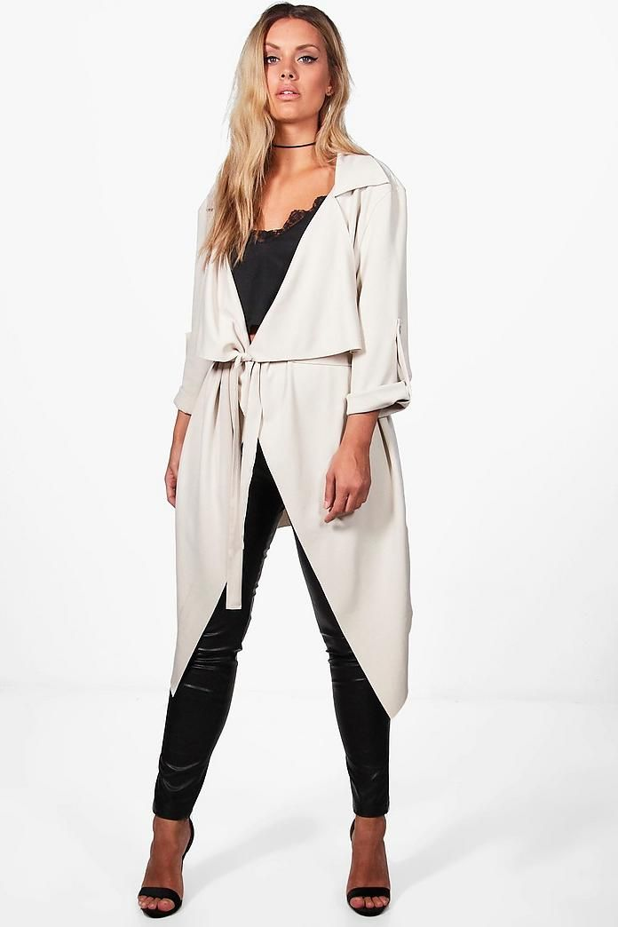 bd59e942f0d64 Plus Daisy Belted Waterfall Duster Coat