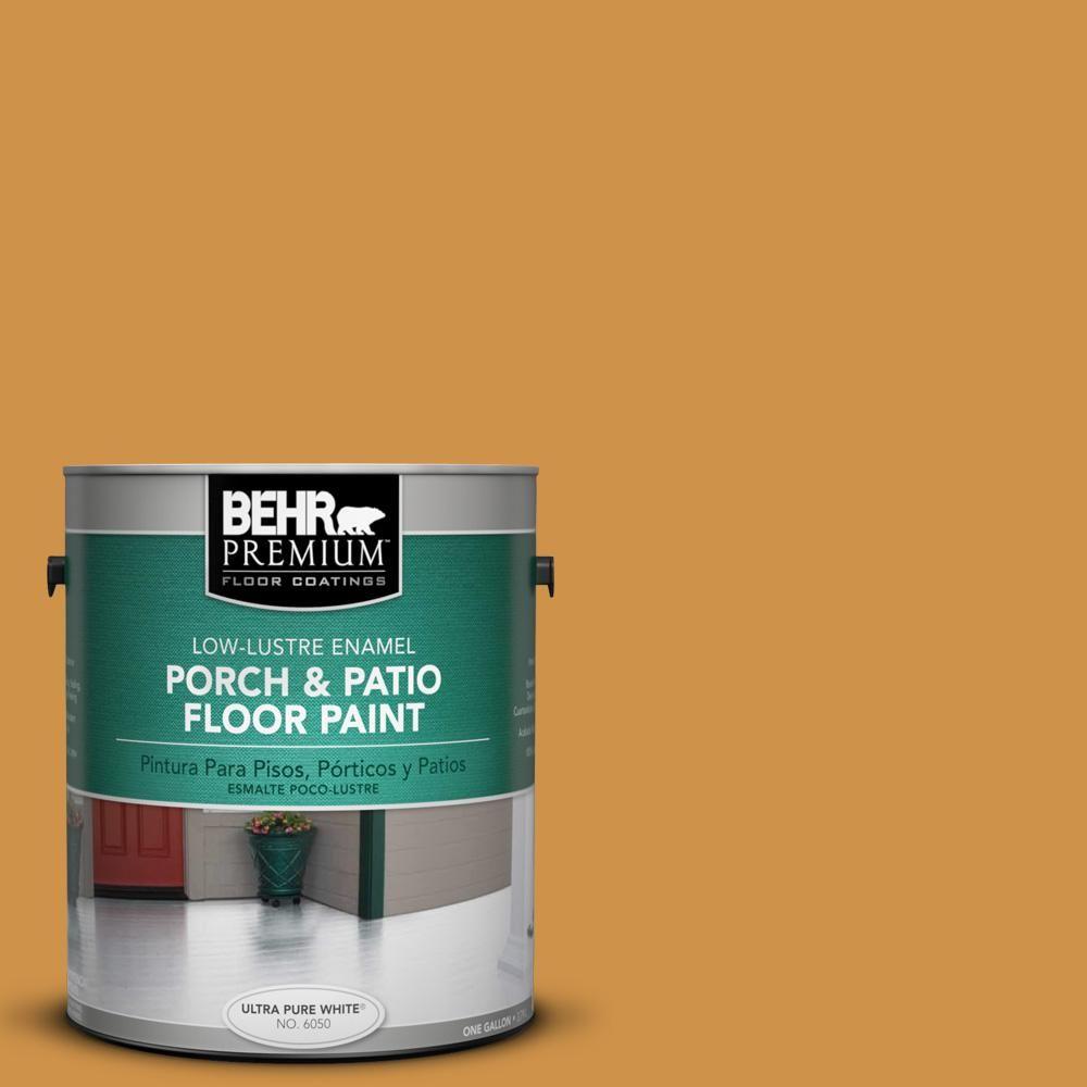 Behr Premium 1 Gal M260 6 Sweet Mustard Low Lustre Enamel Interior Exterior Porch And Patio Floor Paint 630001 Patio Flooring Painted Floors Concrete Porch