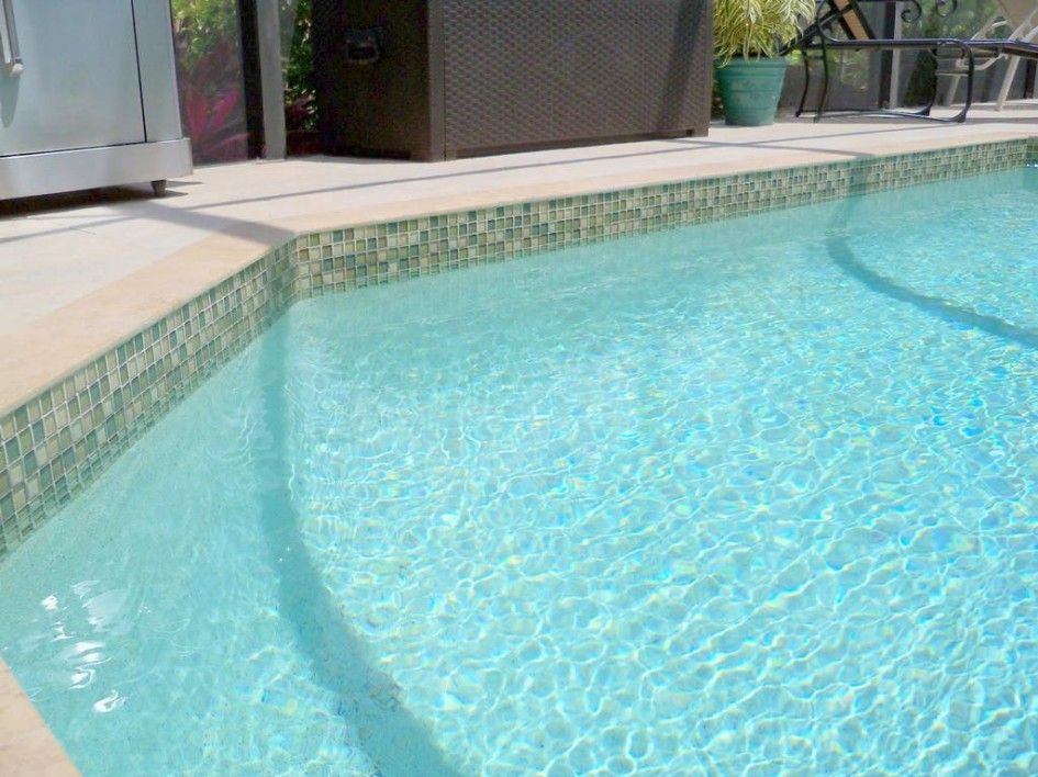 Decorative Pool Tile Pleasing Pooltilesglamorouspooltileftmyerswithlimestonepooledge Design Decoration