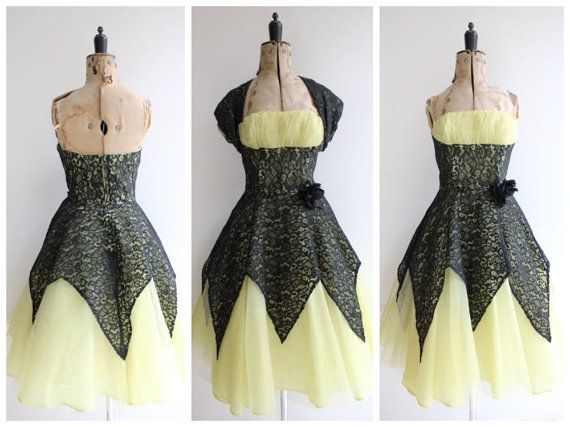 Vintage 1950's Yellow Tulle and Black Lace by WillowHilsonVintage