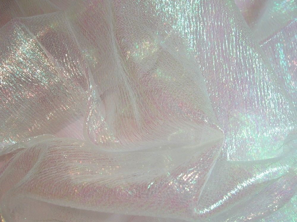 F01 per yard white w lime reflex shiny iridescent crinkle for Sheer fabric