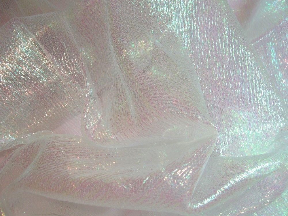 Amazing F01 PER YARD White W/Lime Reflex Shiny Iridescent Crinkle Sheer Organza  Fabric