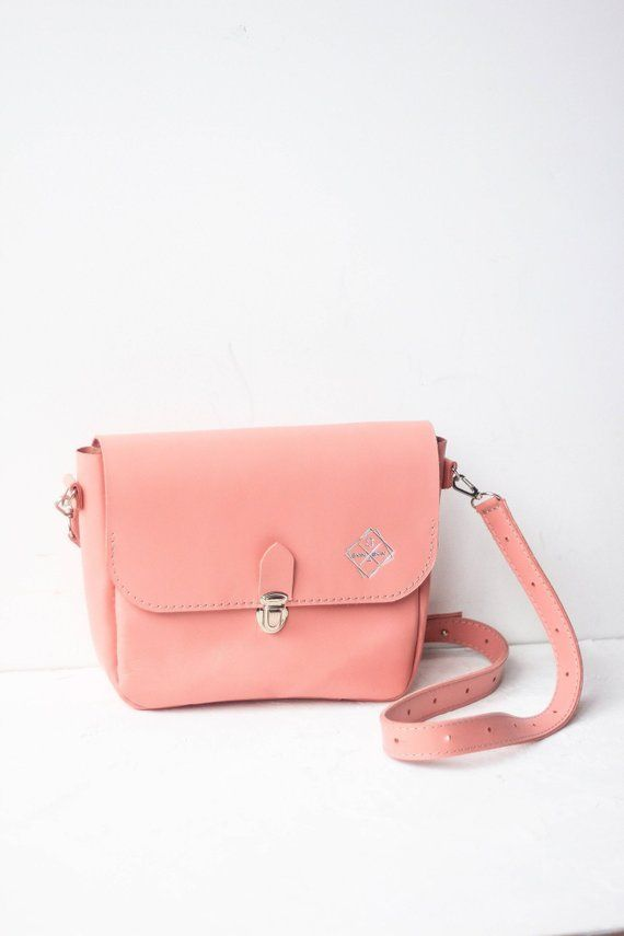 61791e8e38e Pink crossbody bag, small leather messenger purse, shoulder tablet ...