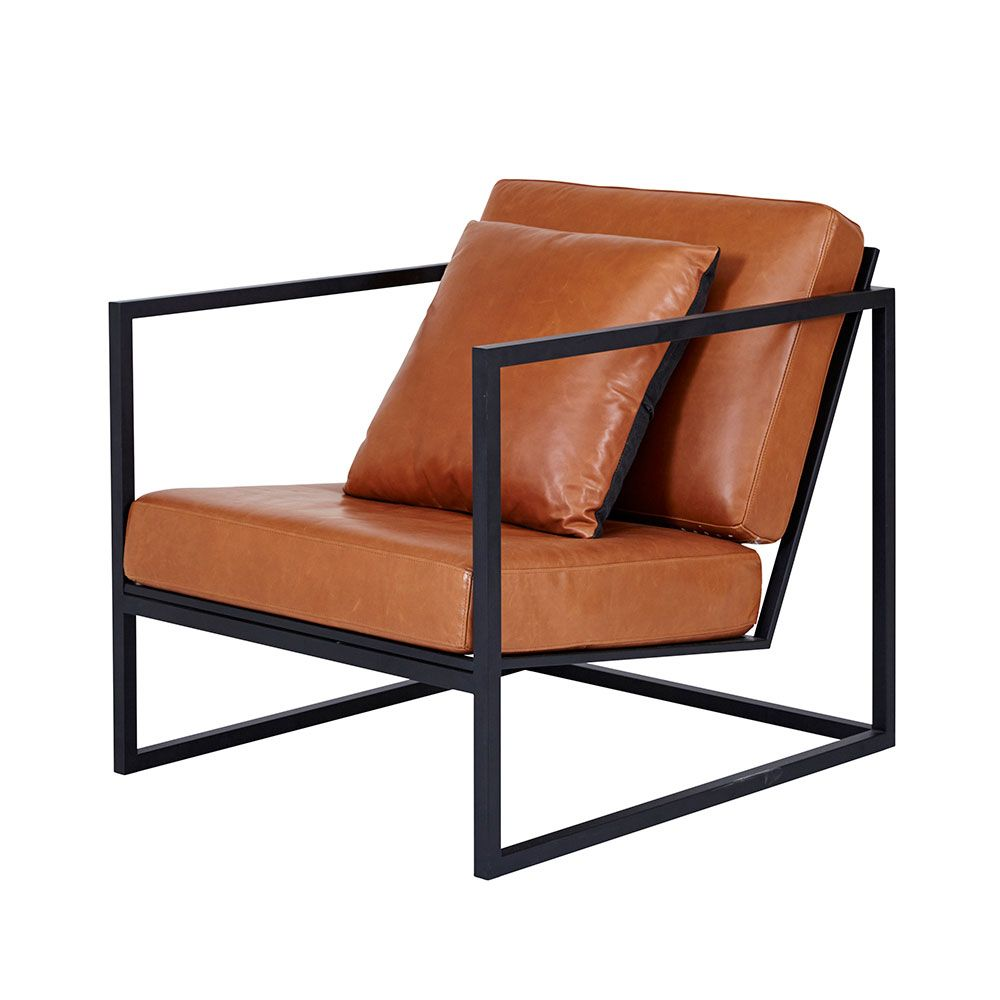 Modern Designer Stanley Armchair - Black Metal Frame/Leather ...