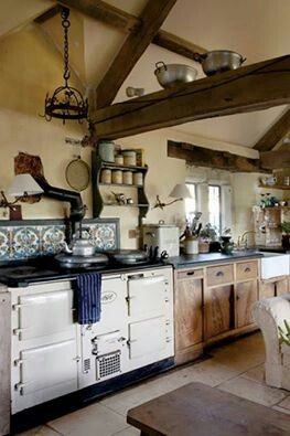 Old Country Kitchen Love The Use Of The Beams As Storage