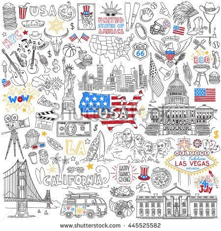 USA Hand Drawn Outline Vector Set United States Of America - Us Map With States Outlined Vector