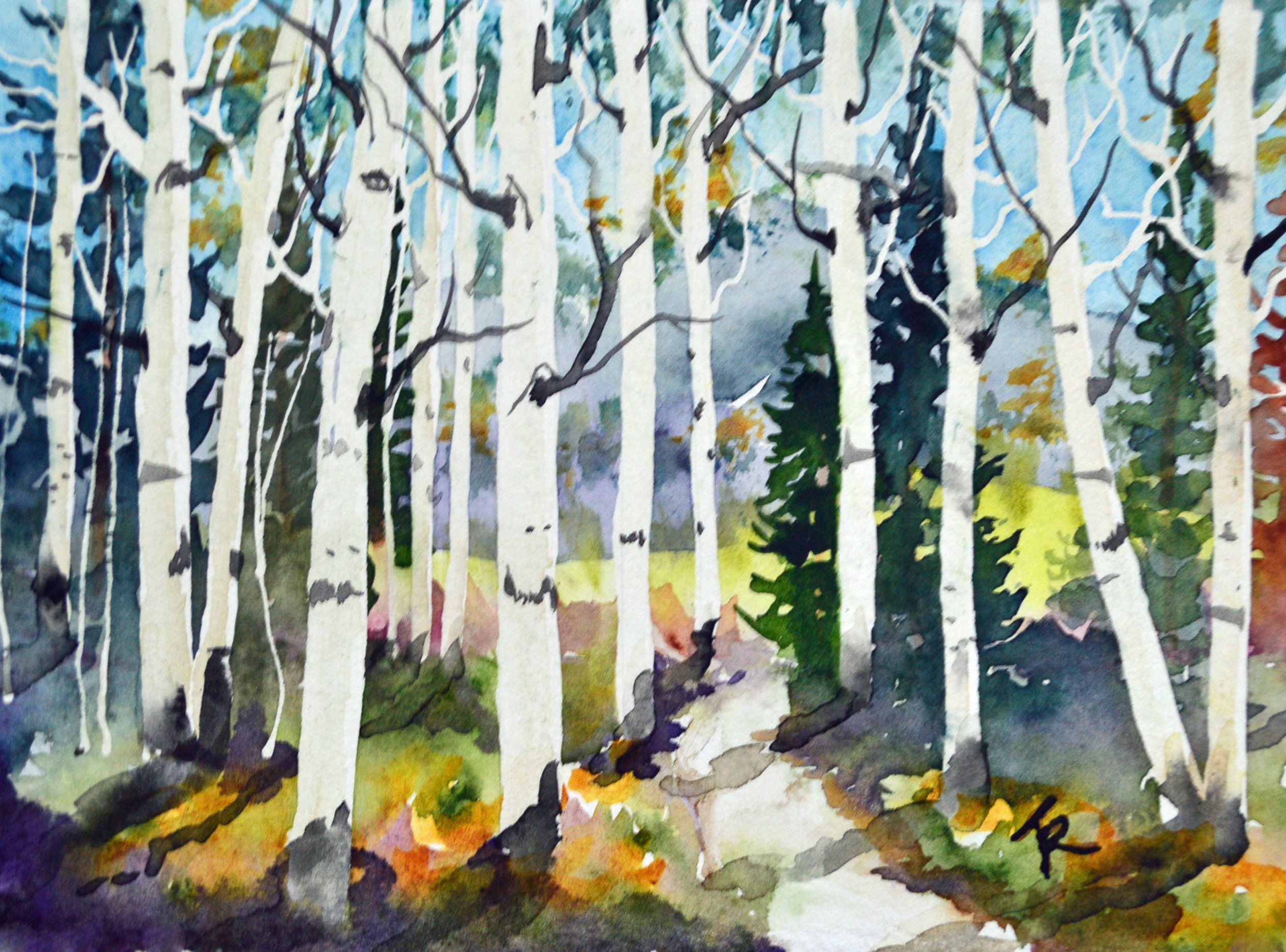 Watercolor Painting Original Of An Aspen Tree Forest In The Fall