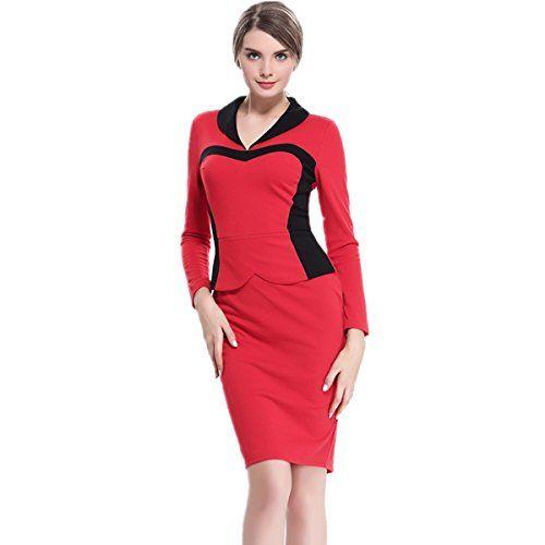 Fanessy Kleid Damen Pencil Kleider Business Kleid Sweatkleid Knielang Frühling Größe 34-44