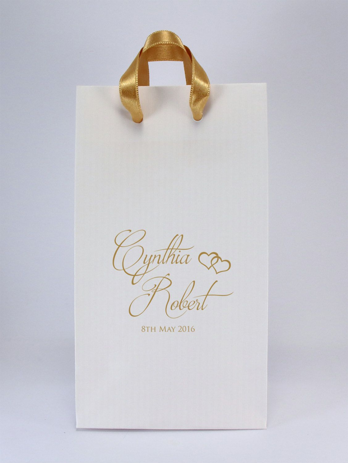 100 Wedding Favor Bags with Handles - Personalized White Paper Gift ...