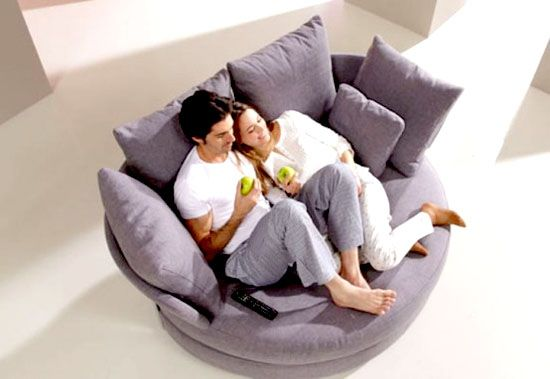 Small Circular Couch Comfy Sofa Furniture Cozy Chair