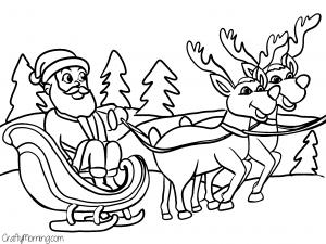46+ Santa sleigh and reindeer coloring page download HD