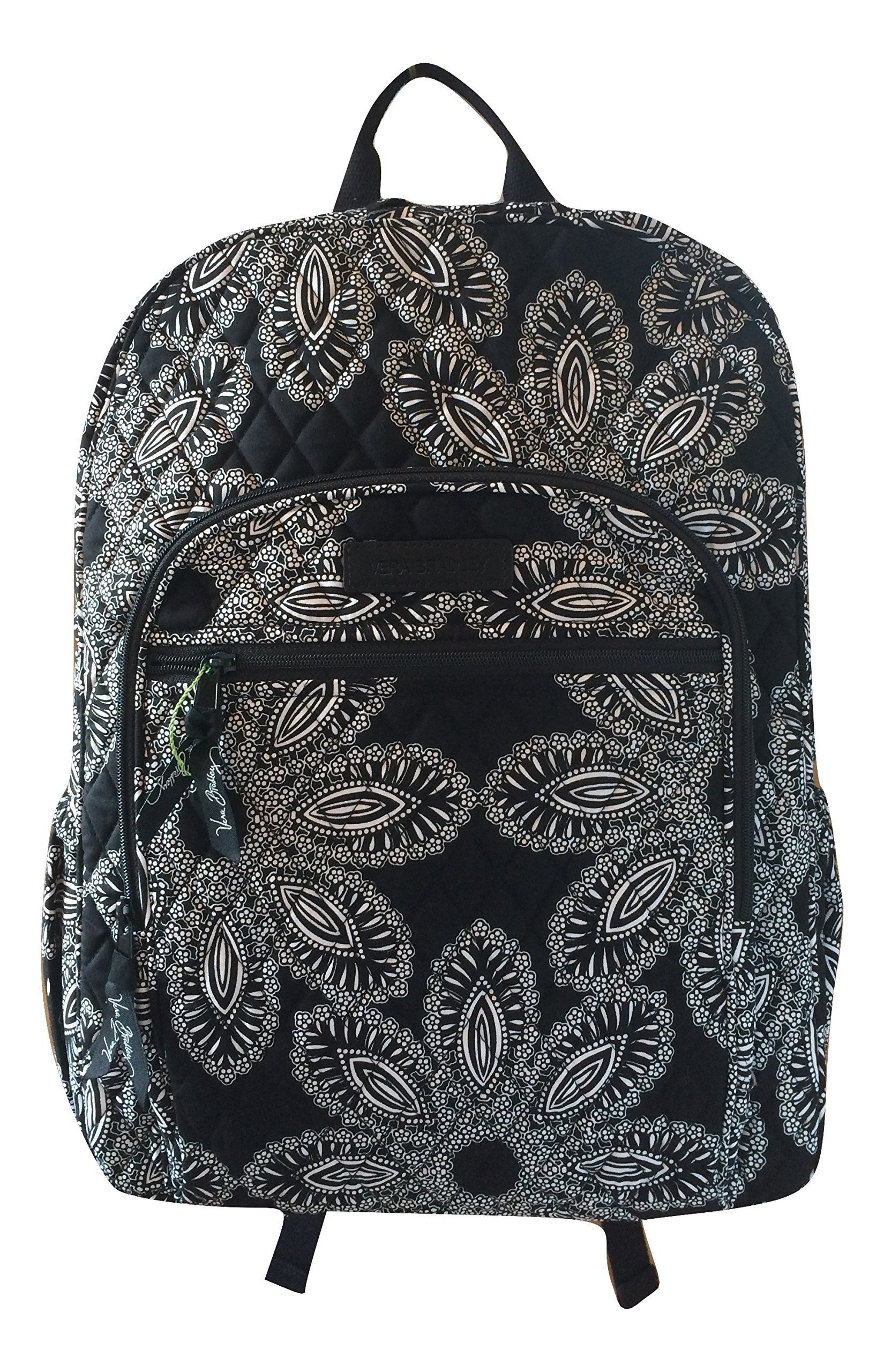 Amazon.com   Vera Bradley Campus Backpack with Solid Color Interior  (Updated Version) (Blanco Bouquet with Black Interior)   Casual Daypacks     giftryapp f76eb007e1