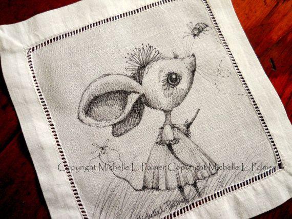 Original Pen and Ink Illustration on Antique Vintage Linen Michelle Palmer Mouse Little Girl Bumble Honey Bee