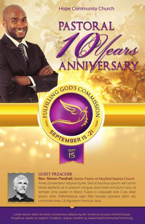 Clergy Anniversary Service Program Template Church Print Templates