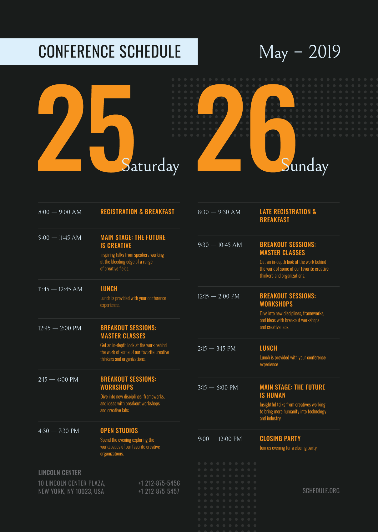 Conference Schedule Poster Template Event Schedule Design Conference Design Event Poster Design