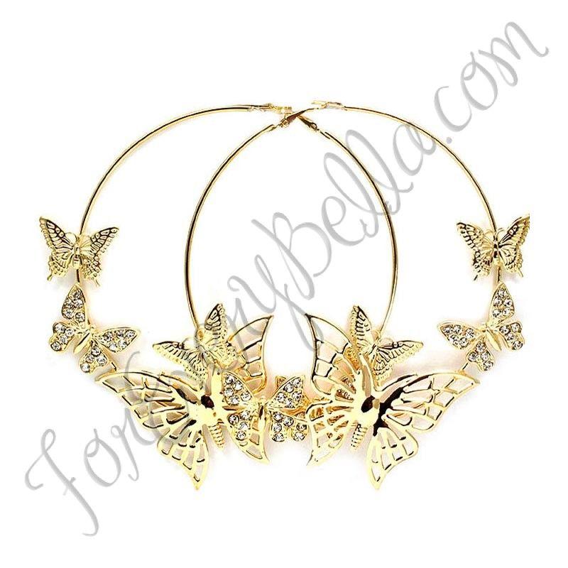 a76039b4859f4 BUTTERFLY HOOPS REMIX | Jewelry | Jewelry, Earrings, Hoop earrings