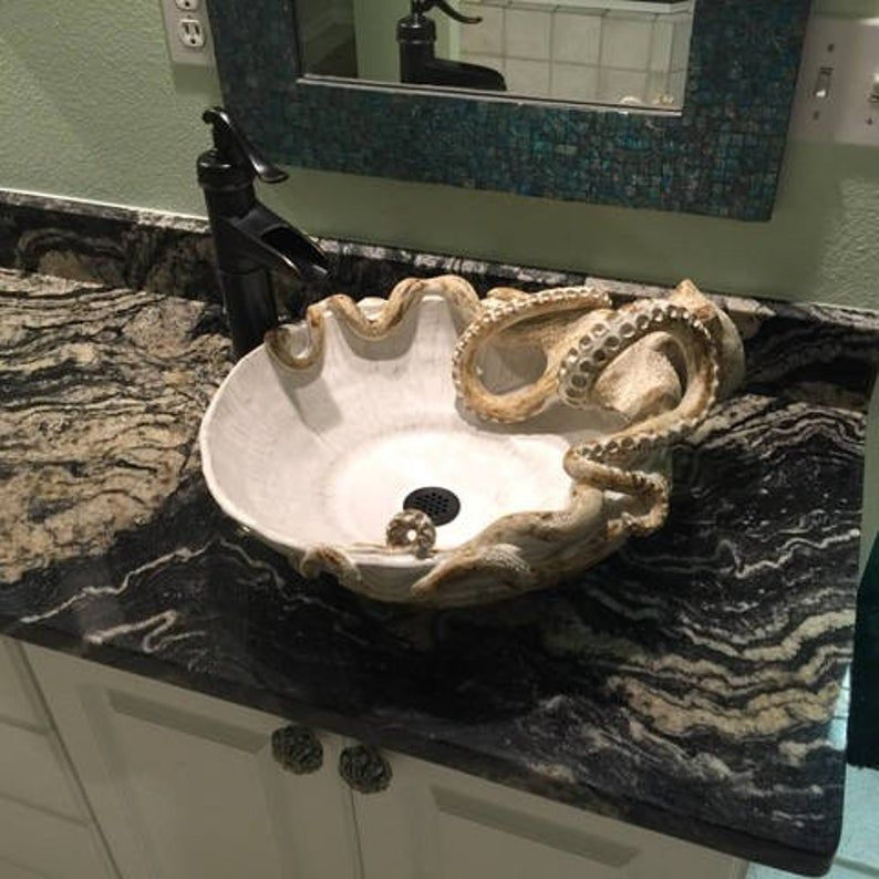 Photo of Large Hand made Ceramic Octopus Vessel Sink by Shayne Greco Beautiful Mediterranean Pottery