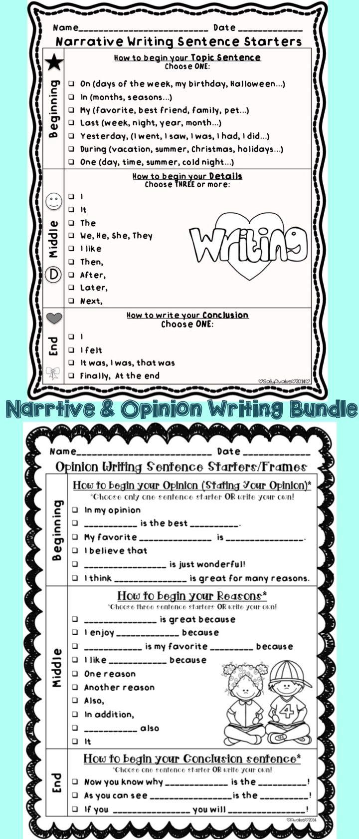 sentence starters for narrative writing