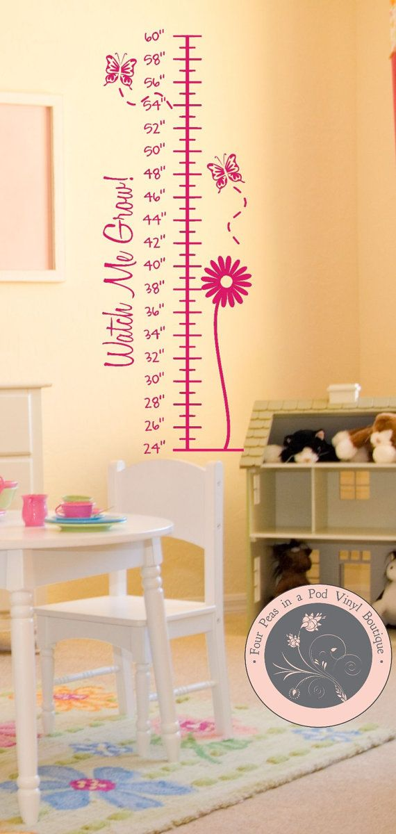 Wall Decal Growth Chart For Girls By FourPeasinaPodVinyl On Etsy - How to make vinyl wall decals with cricut