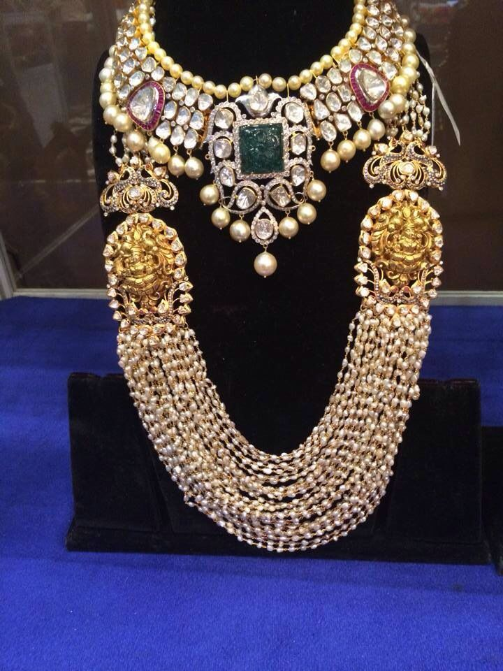 Pearls long chain with temple design and pulki necklace with south